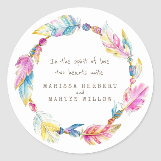 Feathers beads watercolor wedding stickers
