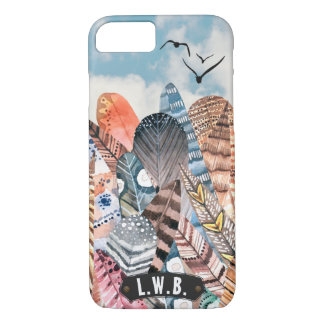 Feathers & Birds Abstract Monogram | Personalized iPhone 7 Case