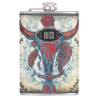 Feathers Black Red Blue Cow Skull Floral Tribal Hip Flask