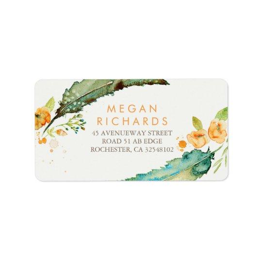 Feathers Bohemian Romantic Teal Wedding Label
