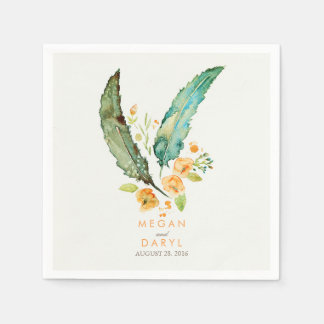 Feathers Bohemian Teal Wedding Paper Napkins