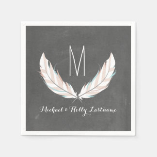 Feathers + Chalkboard Monogram Wedding Paper Napkins