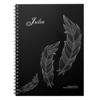 Feathers Fall Art Outline Grey Black Name Template Notebook