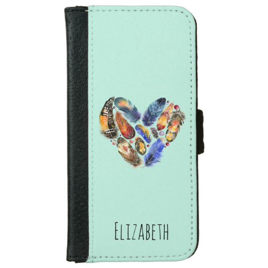 Feathers In A Heart Shape Personalized iPhone 6 Wallet Case