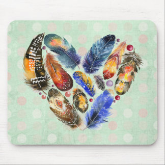 Feathers In A Heart Shape Watercolor Design Mouse Pad