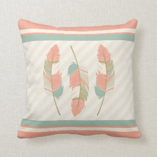 Feathers in Coral , Mint Green and Cream Throw Pillow