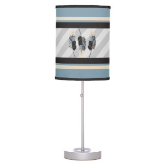 Feathers in Cream, Black and Blue Table Lamp