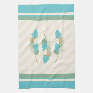 Feathers in Cream, Blue and Green Kitchen Towel