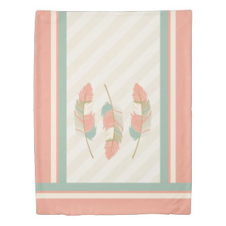 Feathers in Cream, Coral and Mint Green Duvet Cover