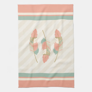 Feathers in Cream, Coral and Mint Green Kitchen Towel