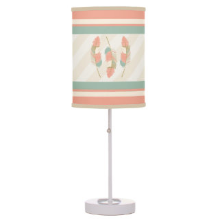 Feathers in Cream, Coral and Mint Green Table Lamp