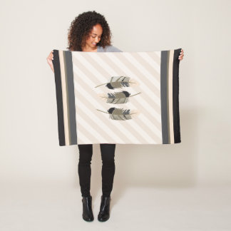 Feathers in Cream, Gray and Black Fleece Blanket