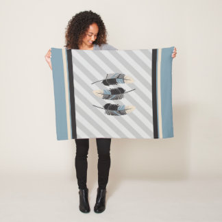 Feathers in Cream, Gray and Blue Fleece Blanket