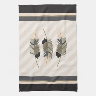 Feathers in Cream, Gray and Brown Kitchen Towel