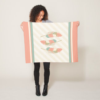 Feathers in Cream, Mint Green and Coral Fleece Blanket