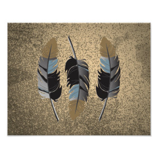 Feathers in Gray, Blue, Brown on Grunge Tan Poster
