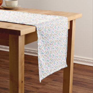 Feathers in pastel pink, blue, watercolour pattern short table runner