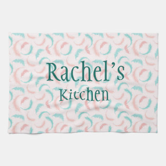 Feathers in pink and blue kitchen towel