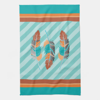 Feathers in Teal Stripes and Desert Color Kitchen Towel
