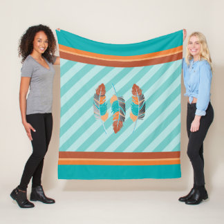 Feathers in Teal Stripes and Desert Colors Fleece Blanket