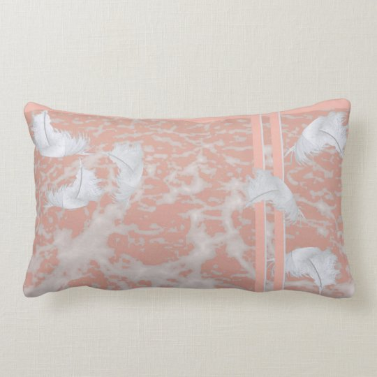 Feathers on Peach Lumbar Pillow