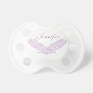 Feathers pink element. Monogram. Pacifier