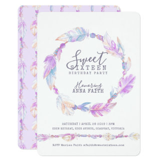 Feathers purple watercolor sweet sixteen card