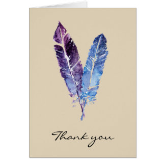 Feathers thank you card