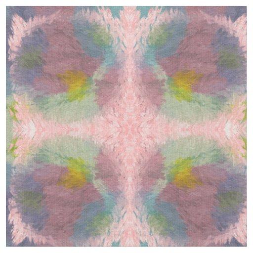Feathery Fabric pastels pink green yellow mauve