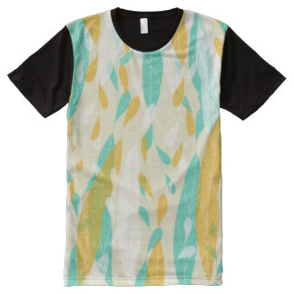 Feathery Leaves Yellow & Green Pattern T-Shirt