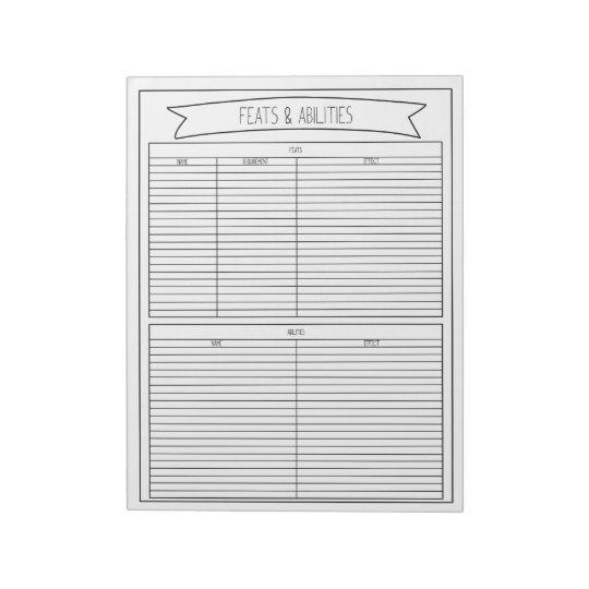 Feats & Abilities Sheets Notepads