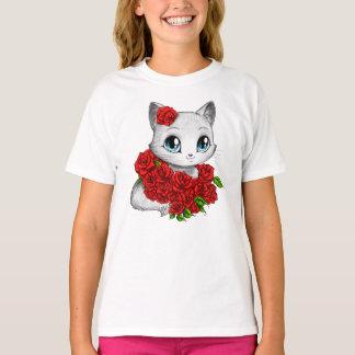 Featured Designer: Adorable Rose Cat White T-shirt