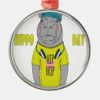 February 15th - Hippo Day - Appreciation Day Metal Ornament
