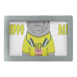 February 15th - Hippo Day - Appreciation Day Rectangular Belt Buckle