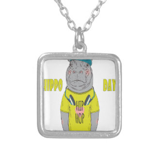 February 15th - Hippo Day - Appreciation Day Silver Plated Necklace