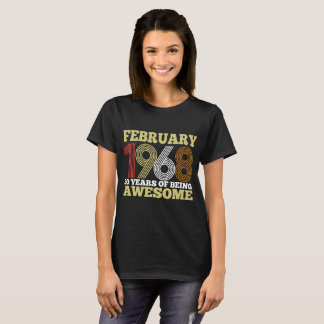 February 1968 50 Years Of Being Awesome Birthday T T-Shirt