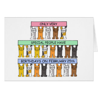 February 25th Birthday Cats Card