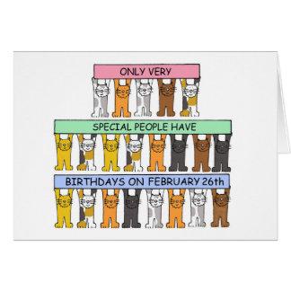 February 26th Birthday Cats Aquarius Card