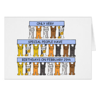 February 29th Birthdays Celebrated by Cats. Card