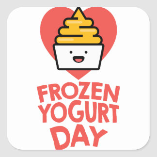 February 6th - Frozen Yogurt Day Square Sticker