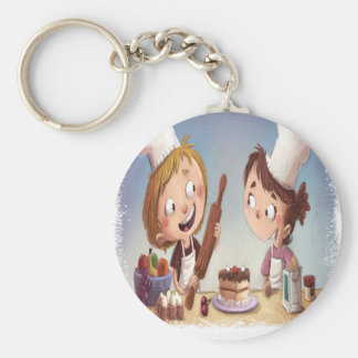 February - Bake For Family Fun Month Basic Round Button Keychain