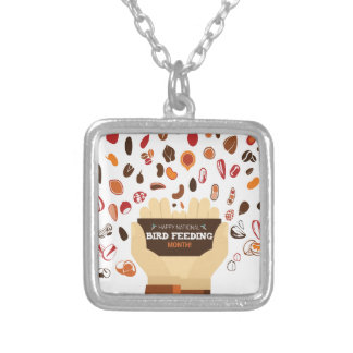 February Bird-Feeding Month - Appreciation Day Silver Plated Necklace