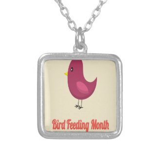 February - Bird-Feeding Month - Appreciation Day Silver Plated Necklace