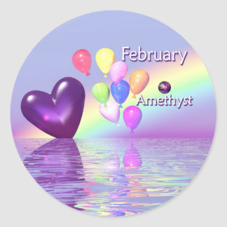 February Birthday Amethyst Heart Round Sticker