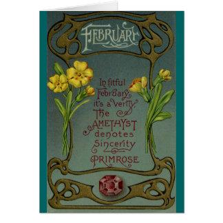 February Birthday Primrose & Amethyst Card