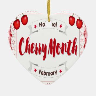 February - Cherry Month - Appreciation Day Ceramic Ornament