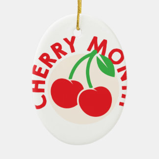 February - Cherry Month - Appreciation Day Ceramic Oval Ornament