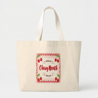 February - Cherry Month - Appreciation Day Large Tote Bag