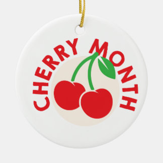 February - Cherry Month - Appreciation Day Round Ceramic Ornament