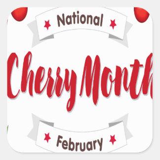 February - Cherry Month - Appreciation Day Square Sticker
